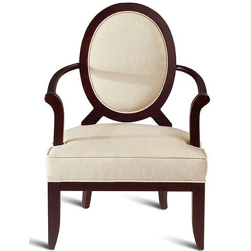 Cream and brown armchair