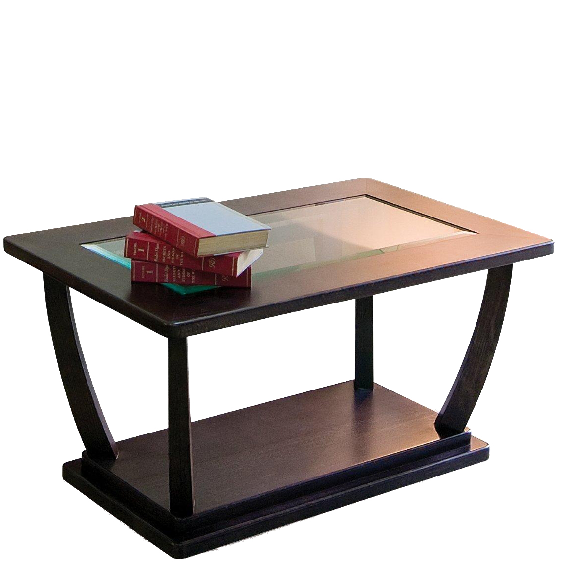 Rectangular coffee table with 3 books stacked on it