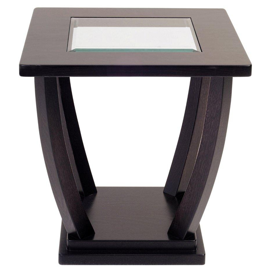 Dark brown wooden square side table