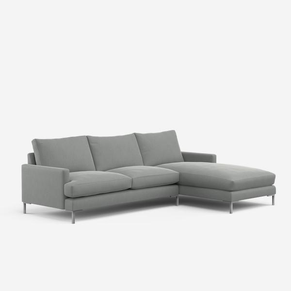 Grey Conrad sofa with footrest
