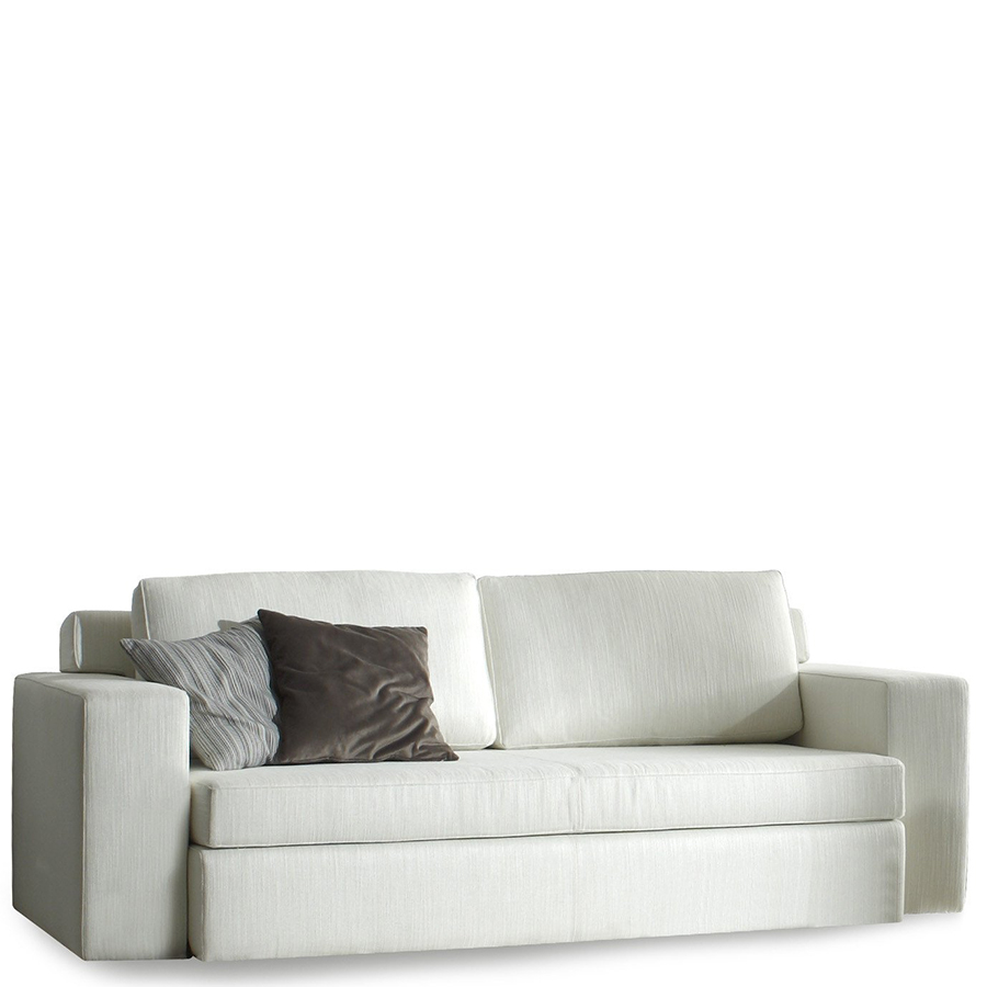 Pale grey sofa bed with two darker grey cushions