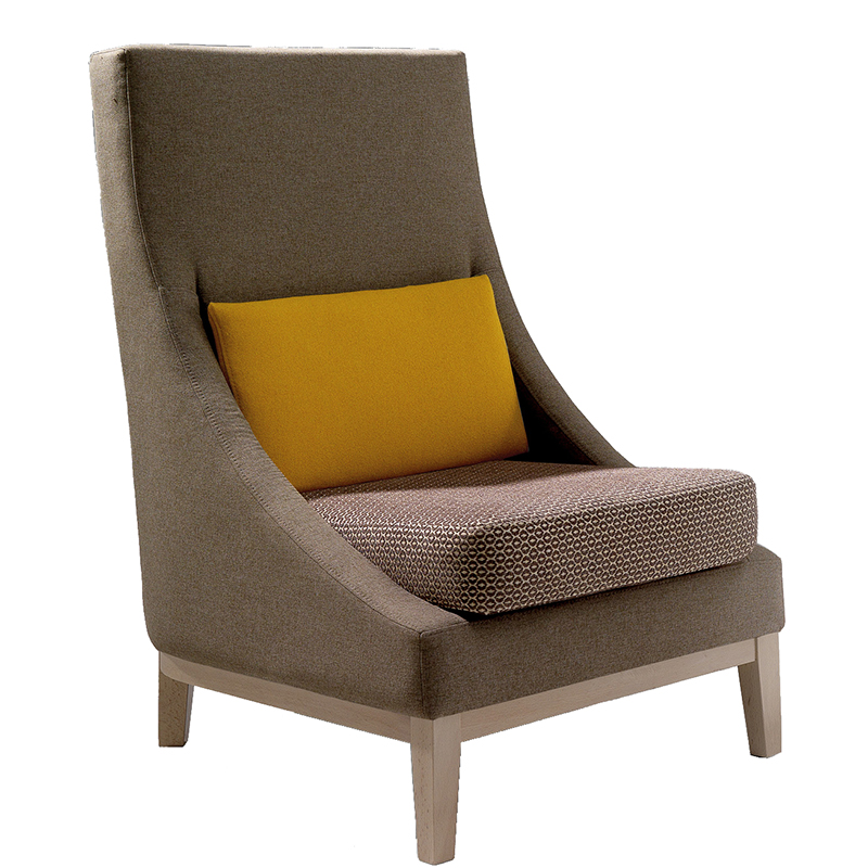 Brown lounge chair with orange cushion