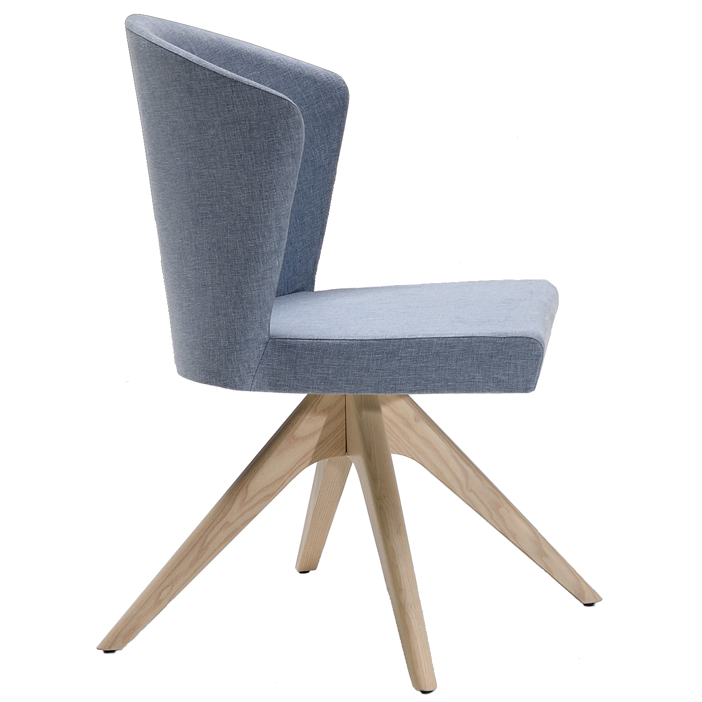 Blue side chair with wooden base