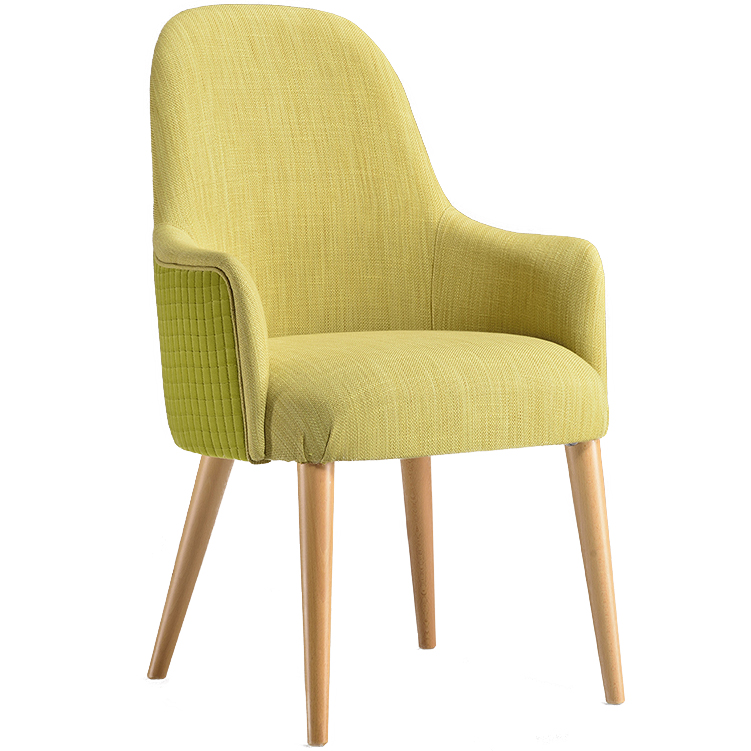 Yellow armchair with wooden legs