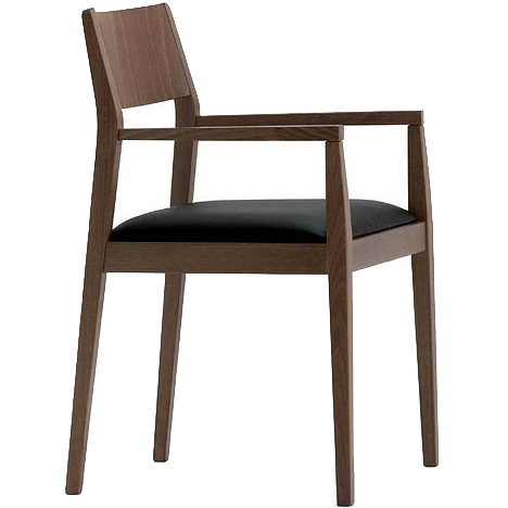WOoden armchair with a black seat