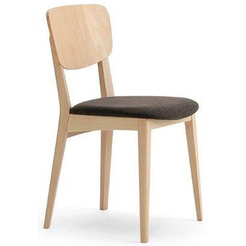 WOoden chair with brown cushioned seat