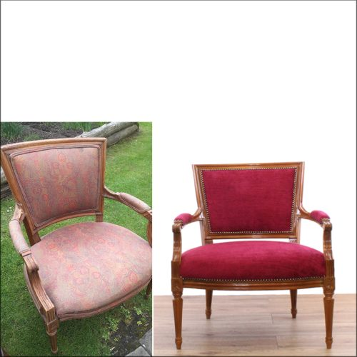 Antique chair reupholstery - before and after