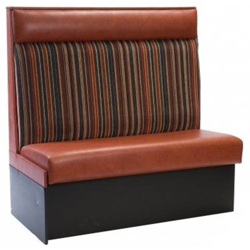 Brown and striped banquette seating