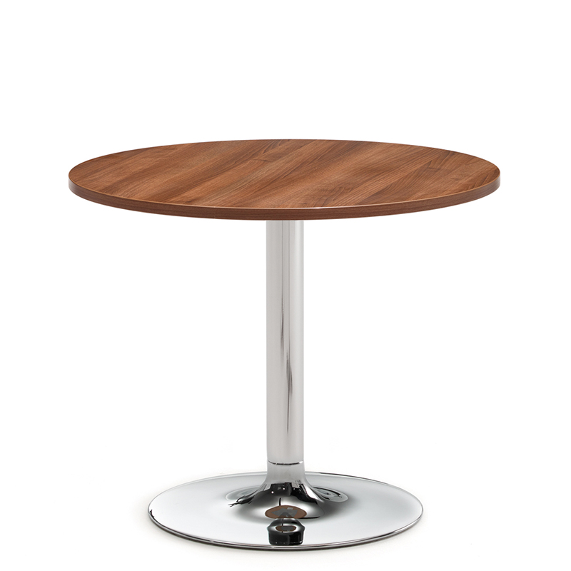 Round wooden table with chrome pedestal base