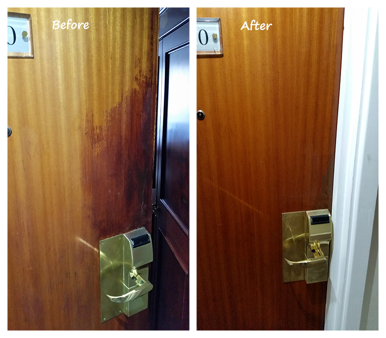 Hotel door french polishing