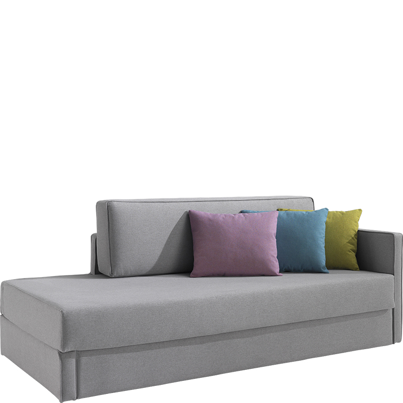Grey corner sofabed with purple, blue and green cushions