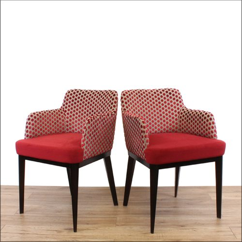 Bar chairs with red seat and polka dot back