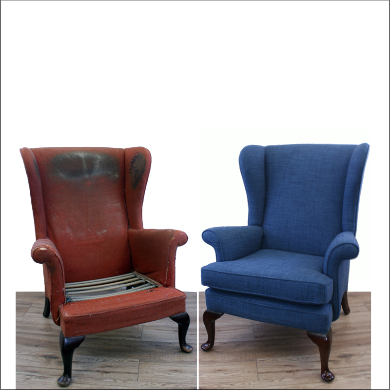 Armchair restoration - before and after