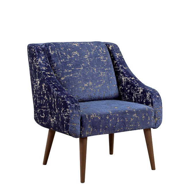 Blue lounge chair with a mock-distressed pattern