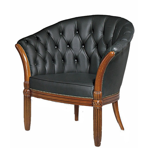 Black leather armchair with button detail