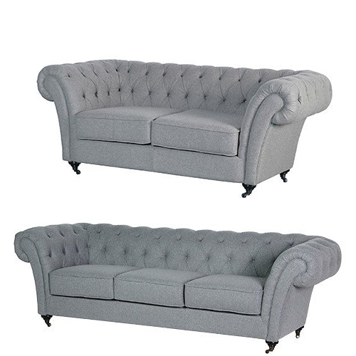 Two and three seater Chesterfields with flared arms