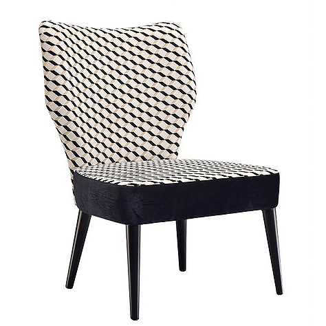 Black and white patterned armchair