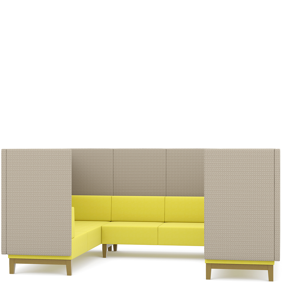 Yellow and grey corner booth seating
