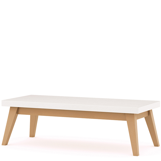 White rectangular table with wooden legs