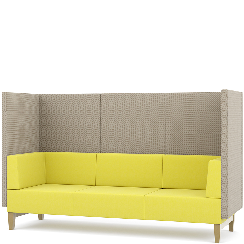 Yellow and grey three-seater booth seating