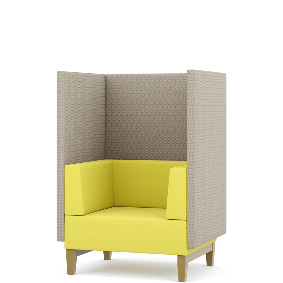 Yellow and grey single booth seat