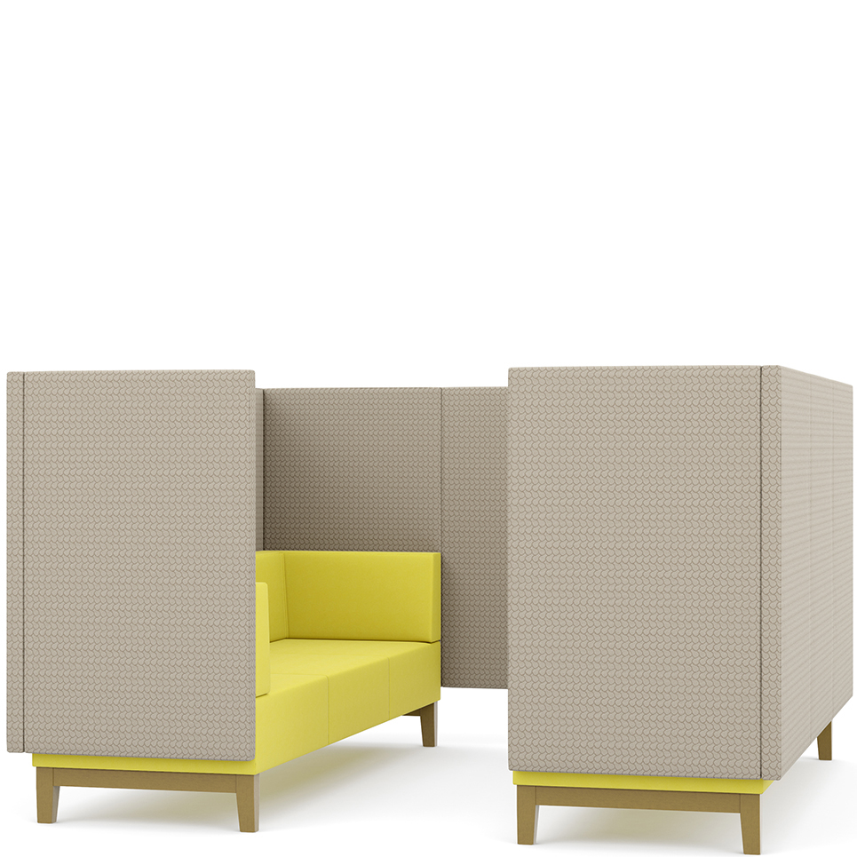 Grey and yellow booth seating