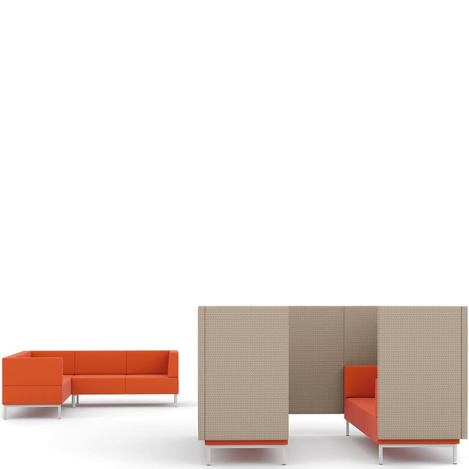 Orange corner sofa and orange and grey booth seating