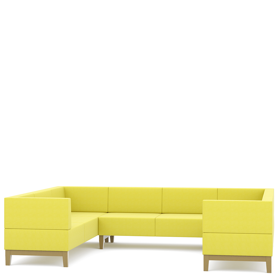 Yellow three sided corner sofa