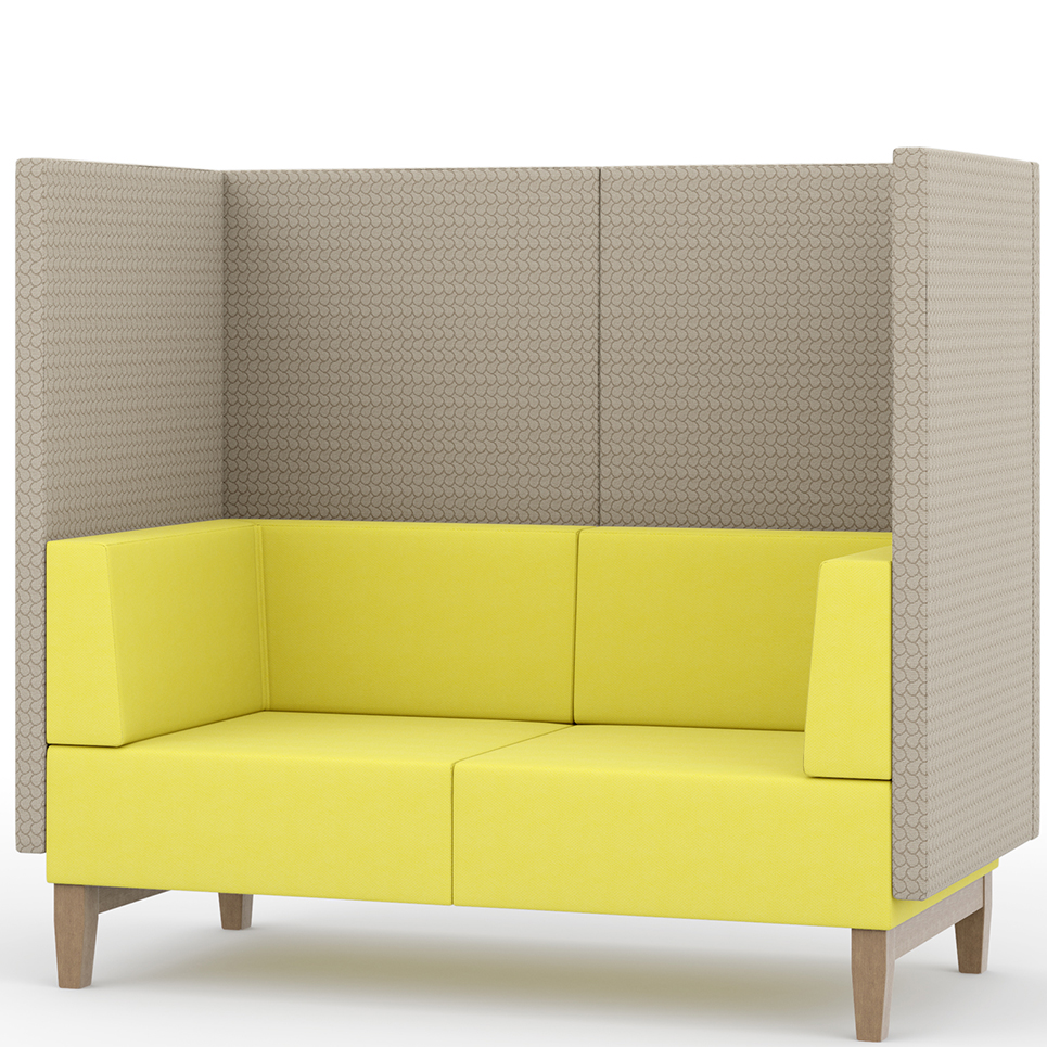 Yellow and grey booth seating