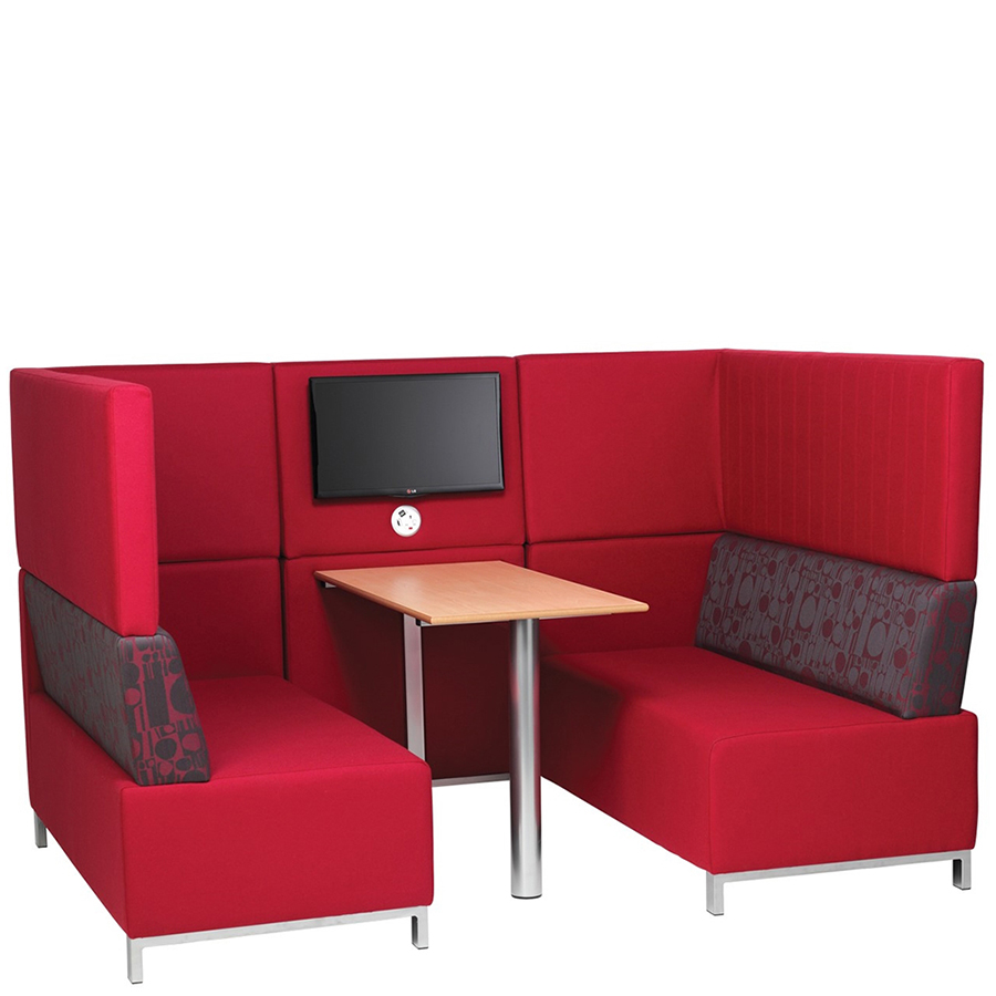 Red booth seating - three-sided with a table in the middle