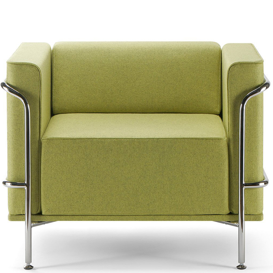 Green lounge chair with chrome legs