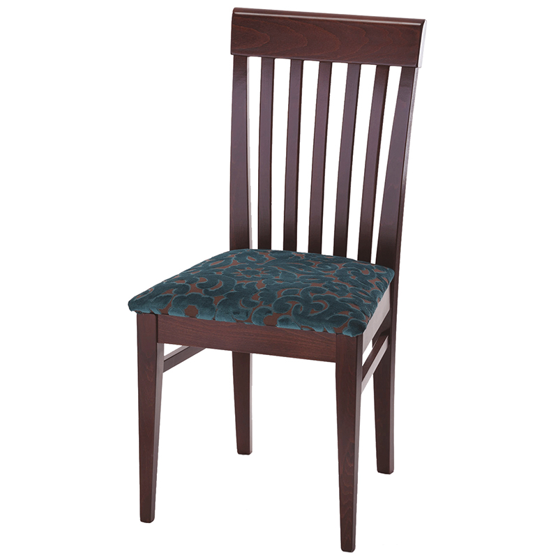 Dining chair with blue and brownh seat and wooden back