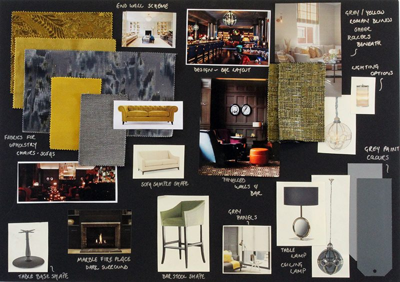 Hotel interior design mood board