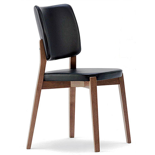 Black leather chair with wooden legs