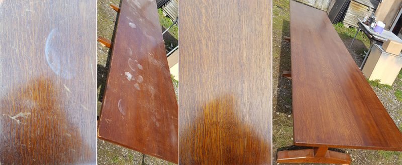 French polishing of large dining table