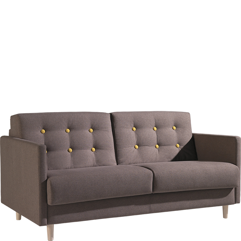 Brown sofa bed with yellow studs