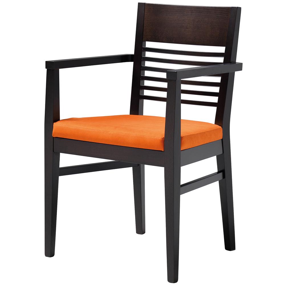 Black and orange carver chair