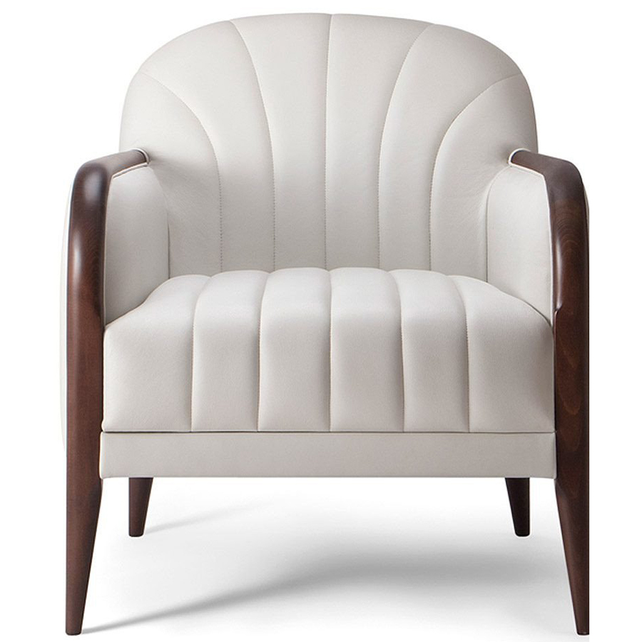 White armchair with wooden legs