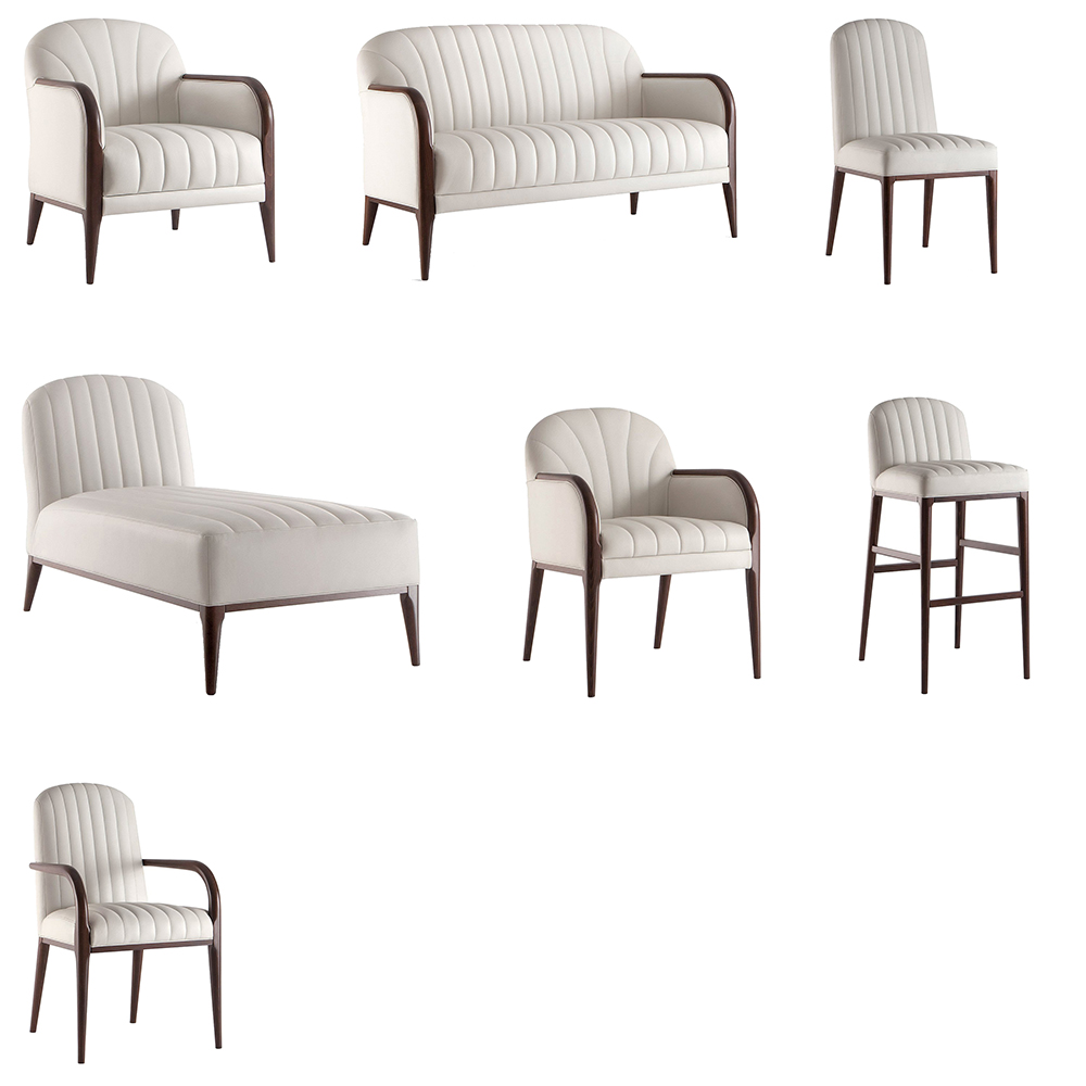 A range of white sofas, armchairs and stools