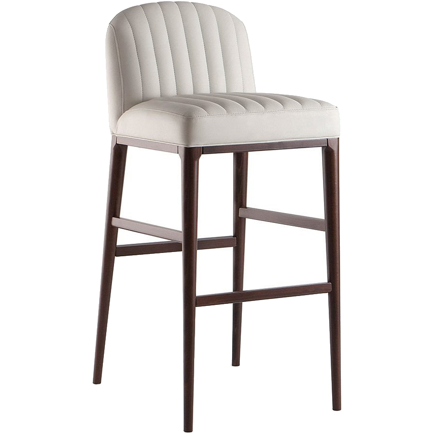 White bar stool with wooden legs