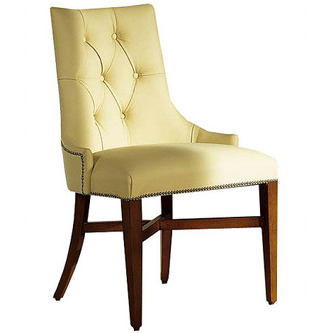 Yellow chair with button studs in the back