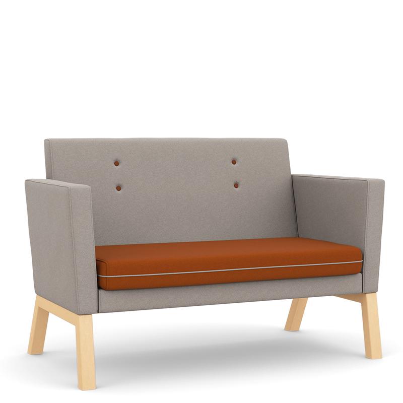 Grey and orange sofa