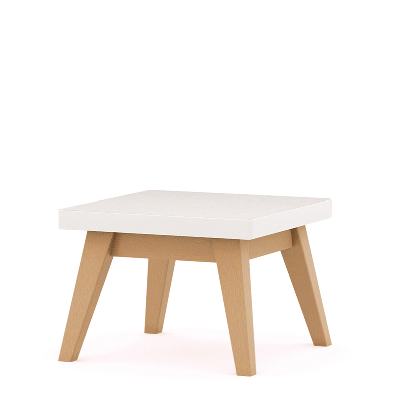 White square table with wooden legs