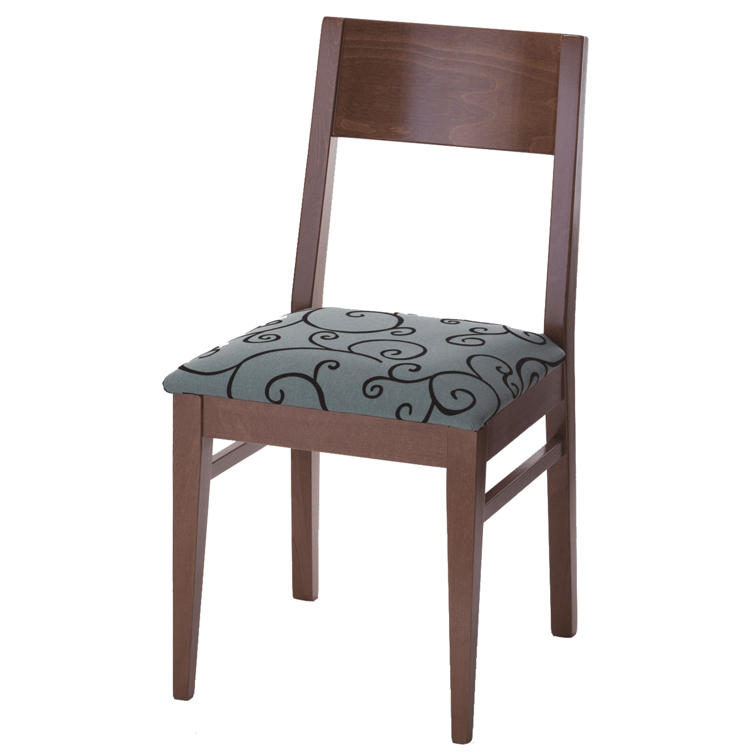 Hotel side chair with a blue patterned seat