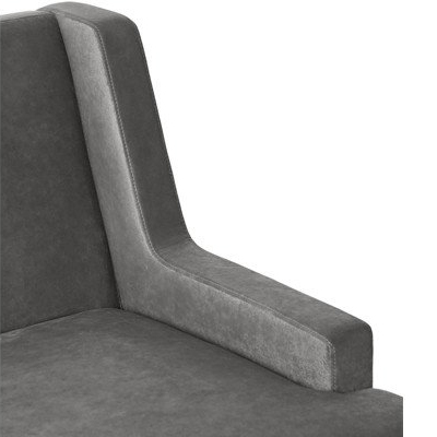 Close up view of arm of grey chair