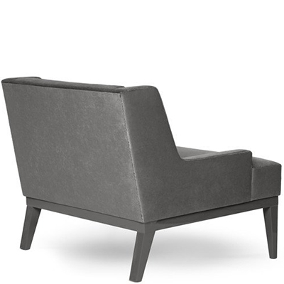 Back view of grey armchair