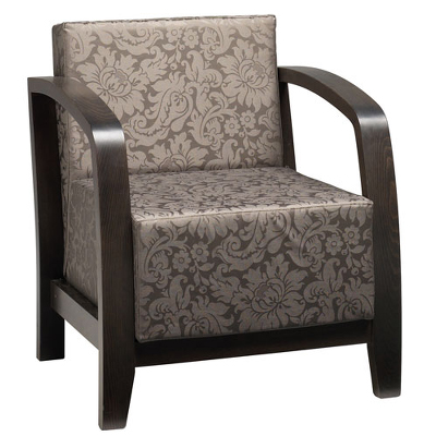 Grey and silver patterned armchair