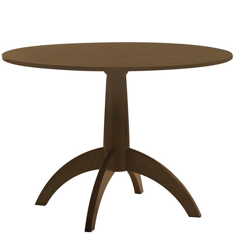 Round brown pedestal table