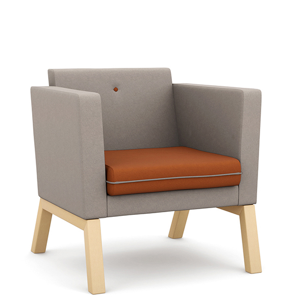 Grey and orange armchair with wooden legs