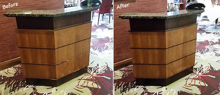 Renovated restaurant host desk